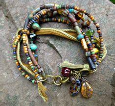 Czech glass. Silk ribbon. Multi strand Ethnic bracelet. Earth tone. Hippie, Boho. Seed Beaded bracelet. Jewelry.