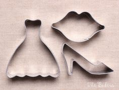 Wedding Cookie Cutter Set with Dress, Shoe, Lips, Small Cookie Cutters, Wedding Favor Cutters, Bridal Shower Cookie Cutters (set of 3)
