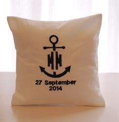 Nautical themed ring pillow. Custom in your choice of embroidery thread. louise@heavenlygarters.co.za www.heavenlygarters.co.za Ring Pillows, Throw Pillows, Nautical Theme, Embroidery Thread, Toss Pillows, Cushions, Ring Bearer Pillows, Decorative Pillows, Decor Pillows