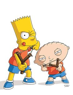 Bart Simpson and Stewie Griffin with Bart's favorite slingshot in The Simpsons Family Guy crossover episode Family Guy Cartoon, Family Guy Stewie, The Simpsons Guy, Simpsons Art, Stewie Griffin, Peter Griffin, Family Guy Season 13, Family Guy Quotes, Simpsons Drawings