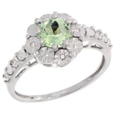 $75.12 USD, Sterling Silver Natural Green Amethyst Ring Round by WorldJewels