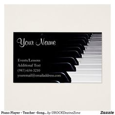 piano player teacher songwriter band business card - Zazzle Business Cards