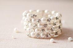 Bridal Cuff Bracelet - Wedding Jewelry - Vintage Inspired Rhinestones Beaded Cuff