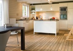 laminate flooring for kitchens at 10 Ideas of Wooden Kitchen Flooring Installation Types Of Wood Flooring, Oak Laminate Flooring, Best Flooring, Timber Flooring, Diy Flooring, Kitchen Flooring, Flooring Ideas, Flooring Options, Wooden Kitchen Floor