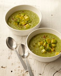 Creamy Broccoli Soup - a paleo soup recipe made w/ avocado, baby spinacy, and garlic