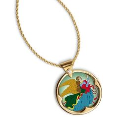 American Coin Treasures 14k Gold Overlay Heavenly Angel JFK Half... ($25) ❤ liked on Polyvore featuring jewelry, necklaces, white, 14k gold pendants, 14k yellow gold pendant, 14 karat gold pendants, long necklaces and gold pendant necklace