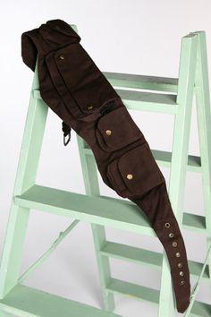 Brown CANVAS pocket utility belt psytrance FANNY PACK hip waist belt bumbag