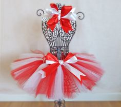 Candy Cane Christmas Sewn Tutu in Red and by OneLovelyLittleLady, $20.00