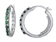 Emerald and Sapphire Inside Out Hoop Earrings in Sterling Silver