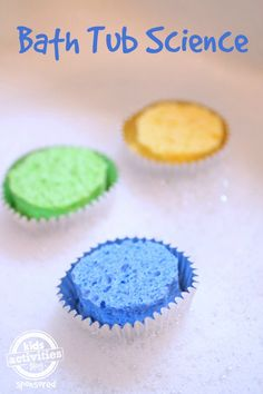Super fun floating cupcakes! This is a really cool bath tub science experiment.