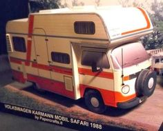 "Volkswagen T2 Karmann Mobil Safari Paper Model - by Papercrafts.It -- = -- More one great paper model by Italian website Papercrafts.It. ""The first Karmann motor homes were launched in 1974 based on the Volkswagen Type 2/T2 chassis. The bodies were of a sandwich structure. These motor home had two beds, kitchen, water tank, shower, toilet, hot water heater and gas heating. Papercraft scale 1:35."" - Papercrafts.It"