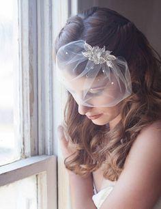ivory birdcage mini veil bridal veil tulle by GildedShadows