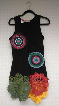 Fanky artsy upcycled dress/redesignedsize 14/Lrusticcountry