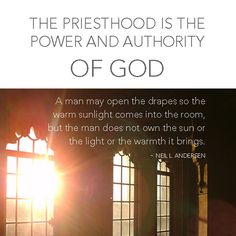 Great analogy about the Priesthood by Neil L Andersen! #ldsconf