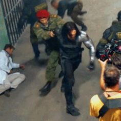 The Russian army guy is in charge, obviously; he forces the Winter Soldier to rescue him (we see the gun aimed at WS's head). But does anyone else find it mildly amusing that there's a part of Bucky inside the Winter Soldier that flings the Russian around and makes him run faster to avoid being left behind? Bucky's silent revenge.