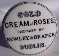 BEWLEY & DRAPER COLD CREAM OF ROSES DUBLIN, POT LID Cold Cream, Pot Lids, Cream Roses, Dublin, Barware, Pots, Bottles, Jars, Bar Accessories
