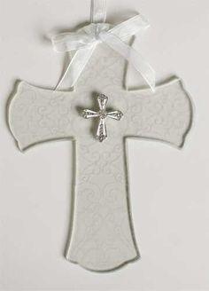 7.25 Glass Wedding Wall Cross W/Cross Attachment by Roman