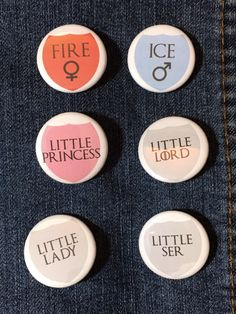 Game of Thrones Inspired Gender Reveal Baby Shower Party Pin Badge - Game of Thrones Baby Shower Pins - GoT Gender Reveal Pinback Buttons