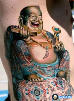 amazing awesome cool latest stylish 3d tattoos design ideas pics images pictures photos beautiful lovely chinese laughing budha girls lady 41 Awesome 3D Tattoo Designs