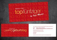 """Einladungskarte 50. Geburtstag: Germanys next """"Top Fünfziger"""" ............ *Format:* DIN Lang Querformat, seitlich geklappt, 4 Seiten geschlossenes Format: 210 x 100 mm aufgeklapptes..."""