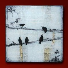 """Black Birds on a Wire 6"""" Sqiare Handmade Glass and Wood Wall Blox from Upcycled Dictionary page book art - WilD WorDz - Carriers of the Word 3 of 4 by WildWordz for $32.00"""