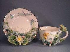 Porcelain Art Tea Cup & Saucer from zotovaelena. Vintage Cups, Vintage Tea, Teapots And Cups, Teacups, Cuppa Tea, China Tea Cups, Rose Tea, My Cup Of Tea, Tea Cup Saucer