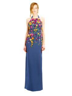 Oscar de la Renta - Multi Floral Embroidered Navy Silk Crepe Halter Gown