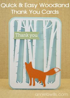 Quick and Easy Woodland Thank You Cards by Annie Williams - made using my Silhouette CAMEO