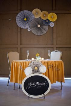"""Yellow and Gray Wedding love the """"just married"""" sign in front of the head table Wedding Table, Wedding Blog, Diy Wedding, Wedding Gifts, Dream Wedding, Wedding Ideas, Wedding Stuff, Spring Wedding, Wedding Details"""