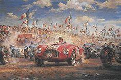 Triple First, Le Mans 1949 motorsport art print by Alfredo De la Maria