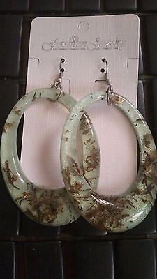 Turquoise Trendy Gold Trim Dangle Fashion Earrings