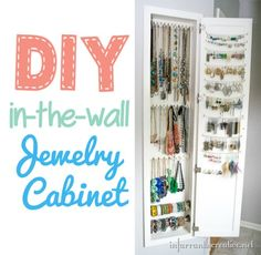 DIY Ideas | Do you have quite the jewelry collection like I do? Check out this tutorial for building an in-wall jewelry cabinet for storage!