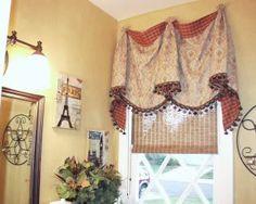 """Laura Ashley Gold #3 Faux"" wall paint color, red/beige window treatments, eiffel tower wall decor,   lorinscott's media"