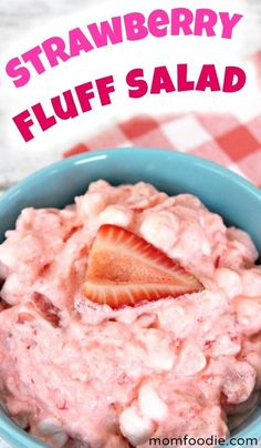 marshmallow fluff recipes Strawberry Fluff Salad recipe --- this classic strawberry jello salad with marshmallows is a staple for any summer party. and it is easy to make! Fluff Desserts, Jello Desserts, Jello Recipes, Fruit Salad Recipes, Strawberry Recipes, Dessert Recipes, Jello Salads, Fruit Salads, Shot Recipes