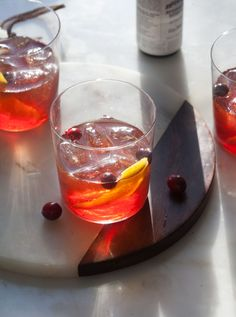 Cranberry Old-Fashioned recipe from PBS Food - Cranberry syrup recipe, plus bourbon, Ango and soda water