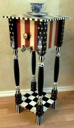 Whimsical HP nightstand/end table with Mackenzie childs courtly check ribbon #WhimsicalArtistic