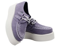 lavender suede white mondo creepers   T.U.K. Shoes