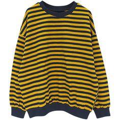 Yellow Stripe Drop Shoulder Long Sleeve Sweatshirt (€28) ❤ liked on Polyvore featuring tops, hoodies, sweatshirts, yellow long sleeve top, polyester sweatshirt, long sleeve sweatshirt, drop shoulder sweatshirt and drop-shoulder tops