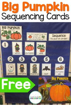 Need some Halloween ideas for your students? This Halloween activity is perfect to teach your kindergarten or grade one kids sequencing in reading! Halloween Stories, Halloween Activities, Autumn Activities, Book Activities, Preschool Activities, Preschool Halloween, Pumpkin Books, Pumpkin Cards, Halloween School Treats
