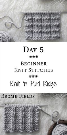 Knit 'n Purl Ridge Knit Stitch : Day 5 of the 21 Days of Beginner Knit Stitches . Knit 'n Purl Ridge Knit Stitch : Day 5 of the 21 Days of Beginner Knit Stitches : Brome Fields : Beginner Knitting Patterns, Knitting Basics, Easy Knitting Projects, Knitting Stiches, Knitting Blogs, Knitting For Beginners, Loom Knitting, Knitting Needles, Free Knitting