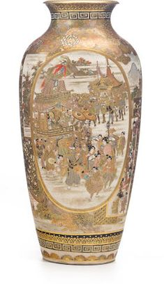 Japanese Vase, Japanese Ceramics, Satsuma Vase, Flower Landscape, Antique Lamps, Asian Art, Motor Car, 19th Century, Auction