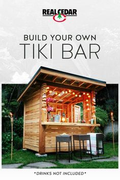 This durable DIY Cedar Tiki Bar can even double as an outdoor storage shed! Let the Tiki Party comme