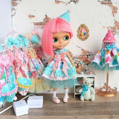 A delicate circus dress for Blythe Clown. Like mint-peach ice cream  Already in my Etsy store