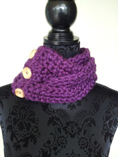 #Braided #Button #Cowl in #Purple, #Chunky Cowl, #Unique #Scarf, #Handmade Scarf, #Crochet #Fashion Scarf, #Gift for #Her, #Spring #Autumn #Winter Cowl by #TwistedKnitsbySuze, $25.00
