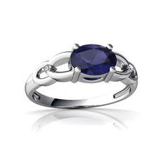 Amazon.com: 14K White Gold Oval Genuine Sapphire Ring $539