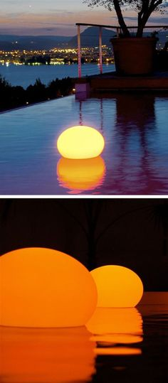 Floating outdoor flat ball lantern - great for lighting tabletops, pools, patios etc. #product_design #lighting_design by catalina