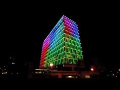 """Cities are getting more colorful all the time. Just check out these cutting-edge buildings, which use giant LEDs to display cool animations — and turn your cities into massive Lite Brites. - Council House, Perth, Western Australia, a 13-story office building, designed by Howlett and Bailey Architects and opened by The Queen 1963."""