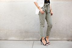 express barcelona cami, chanel french riviera flap, asos ankle strap sandals, white blazer, alexis bittar bracelts, wanderlust & co rings, 7 For All Mankind Paper Waist Pants, pam hetlinger, the girl from panama,