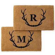 Personalized Doormat, Monogrammed, Antlers, Black - Home + Bar - Outdoor - Mark & Graham Crafts To Sell, Home Crafts, Front Door Mats, Front Porch, House Front, Front Doors, Mark And Graham, Modern Farmhouse Exterior, Personalized Door Mats