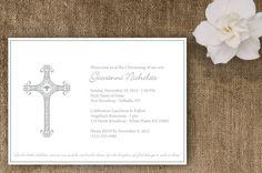 Christening Ornate Cross Religious Invitation by silentlyscreaming